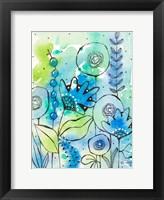 Framed Blue Watercolor Wildflowers II