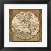 Framed Damask World Map I