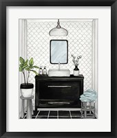 Framed Modern Black and White Bath II