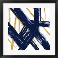 Framed Navy with Gold Strokes III