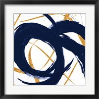 Framed Navy with Gold Strokes II
