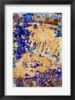 Framed Peeling, Weathered Paint Blue and orange