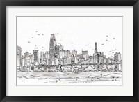 Framed Skyline Sketches VII No Words Flowers