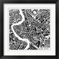 Framed Rome Map Black