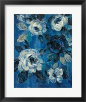 Framed Loose Flowers on Blue II