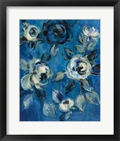 Framed Loose Flowers on Blue I