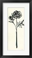 Framed Floral Line I on Cream