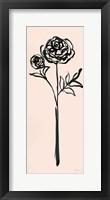 Framed Floral Line I on Pink