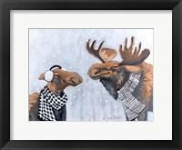 Framed Winter Moose Kisses