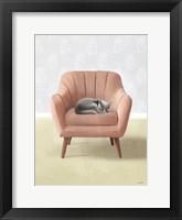 Framed Nap Time Gray Cat