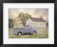 Framed Blue Ford at Barn
