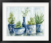 Framed Chinoiserie Plants Bright
