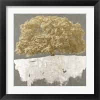 Framed Golden Tree on Grey
