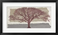 Framed Burgundy Tree on abstract background