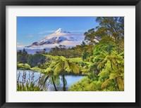 Framed Taranaki Mountain and Lake Mangamahoe, New Zealand