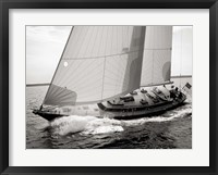 Framed Sailboat Leaning to the Side (BW)