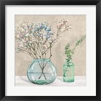 Framed Floral Setting with Glass Vases I