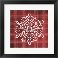Framed Red Plaid Snowflakes