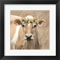 Framed Floral Cow I