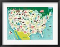 Framed Illustrate USA waves