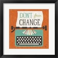 Framed Retro Desktop Typewriter Don't Fear Change