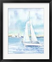 Framed East Coast Lighthouse sailboat panel II