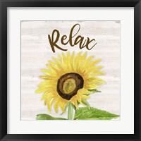 Fall Sunflower Sentiment III-Relax Framed Print