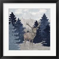 Framed Blue Cliff Mountains scene II-Deer