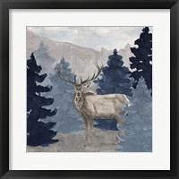 Framed Blue Cliff Mountains scene III-Elk