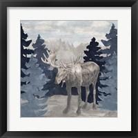 Framed Blue Cliff Mountains scene IV-Moose