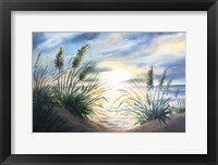 Framed Coastal Sunrise Oil Painting landscape