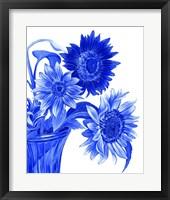 Framed China Sunflowers blue I