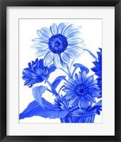 Framed China Sunflowers blue II