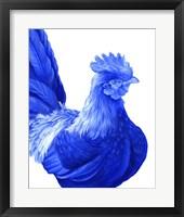 Framed Blue Rooster I