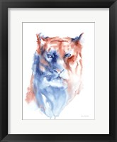 Framed Copper and Blue Lioness