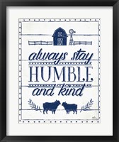 Framed Country Thoughts IV Indigo White