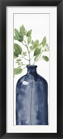 Mixed Greenery I Navy Framed Print
