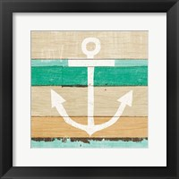 Framed Beachscape III Anchor Green