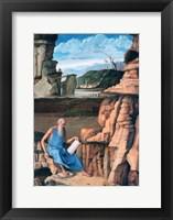 Framed Saint Jerome reading in a Landscape, c1480-1485