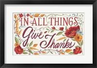 Framed Give Thanks I