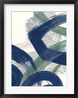 Navy Brushy Abstract I Framed Print