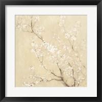 White Cherry Blossoms I Linen Crop Framed Print