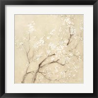White Cherry Blossoms I Linen Crop Framed Print