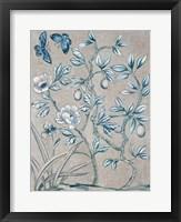 Shimmering Garden I Navy Framed Print