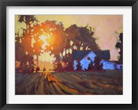 Framed Sunrise Over Farmhouse