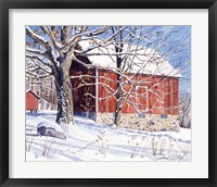 Framed Red Barn in Winter