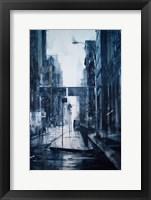 Framed Lower Broadway, rain