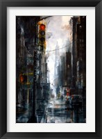 Framed Broadway and Howard Street, rain