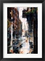 Framed Transfiguration Church, Mott street, rain