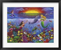 Framed Underwater Mermaids Sunset